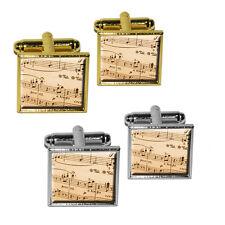 Music Musical Sheet Notes Vintage - Treble Clef Square Cufflink Set