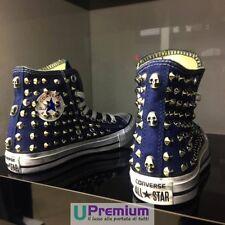 Converse All Star 5 Classiche Blu Navy Teschi Scarpe Borchiate Handmade Borchie