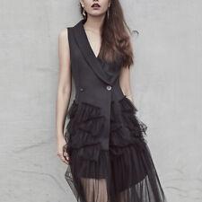 2018 Runway Fashion Women V Neck Sleeveless Patchwork Mesh Vest Dress