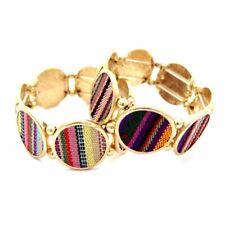 Charm Elastic Metal Bracelet Ethnic Tribal Serape Pattern