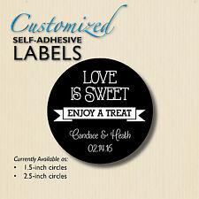 LOVE IS SWEET Enjoy a Treat-Chalkboard Stickers-Wedding Favor Label-candy buffet