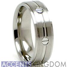 Accents Kingdom 8mm Men's Titanium Satin Wedding Ring Band Screw Size 8-12