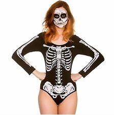 Ladies DELUXE SKELETON LEOTARD Halloween Horror Clown Fancy Dress Costume UK6-20