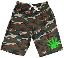 Men's Weed Leaf Fleece Camo Shorts Sweatpants Jogger Kush Blunt Marijuana V360