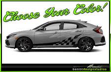 Honda Civic Racing Vinyl Checkers Stripes 2016 2017 2018 2019 Si Style 7