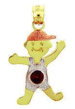 Fine Multi-Tone Gold July Birthstone Ruby Red CZ Baby Boy Charm Pendant
