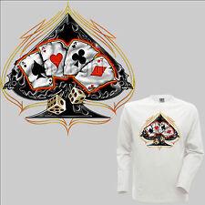 Camiseta Gótica Motero ROCKABILLY Tarjetas de jugar motivo calavera afortunado