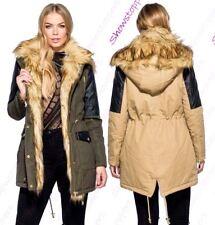 Womens Parka Coat Ladies Fur Jacket Size 8 10 12 14 PU Khaki Camel
