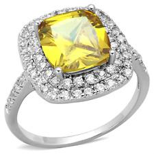 3W760 SIMULATED DIAMOND RING CITRINE CUSHION CUT YELLOW DOUBLE SURROUND SPARKLIN