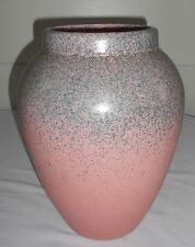 """Vintage STONEWARE **** 12"""" Floor Vase **** PINK / Grey ** Spatterware Spongeware"""