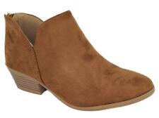 Soda Women Small Short Heel Ankle Boots Booties Zip Cutout Tan Brown Suede MAFIC