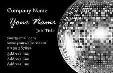 Noir et argent bal disco cartes de visite personnalisées