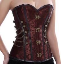 Burlesque Costume Corset Basque Cincher Lingerie Bustier Vintage Chain Jacquard