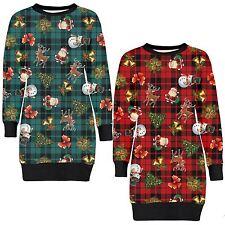 New Womens Tartan Print Jumpers Christmas Tree Long Sleeve Fleece Jumpers 8-22
