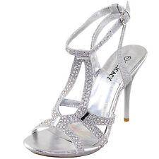 New women's shoes rhinestones stilettos buckle closure party prom wedding Silver