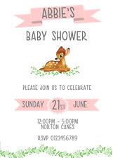 Disney Bambi Baby shower invitations Personalised Pink