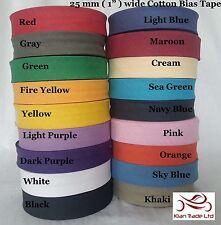 """Sesgo de algodón de 1"""" (25MM) de cinta de costura costura de unión Rollo todos longitud Todo Color"""