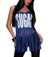 sexy Damen Crop Tank Top  Hippie Style Fransen Shirt T-Shirt Print Sugar Blau