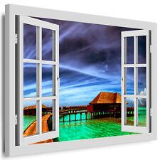 Bild auf Leinwand - Fensterblick Strandhütte - AA0305