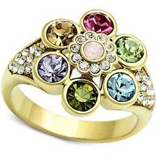 Crystal Flower Ring Multi-color Gold PL Blue Green