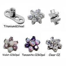 Opal Zircon Micro Dermal Anchor Crystal Top Skin Diver Dermal Piercing Jewelry