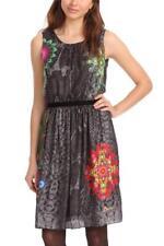 Desigual Pretty Dress 38-46 10-18 £109 Black Snakeprint With Bright Targets
