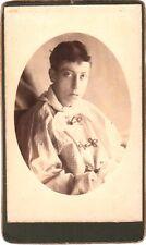 ANTICA FOTOGRAFIA FOTO SU CARTONCINO RITRATTO GIOVANE - PARIS - 1889
