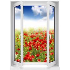 Sticker mural Fenêtre trompe l'oeil Fleurs 5378 5378