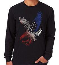 Velocitee Mens Long Sleeve T Shirt American Eagle USA America Patriotic V178
