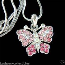 Bridal Wedding w Swarovski Crystal Rose ~~Pink BUTTERFLY~ Charm Pendant Necklace