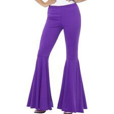 Women's Purple Flared Trousers Hippie Disco Flower Power Fancy Dress Costume