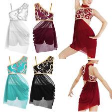 Girls Kids Lyrical Modern Dance Dress Floral Sequin Side Cutout Ballroon Costume