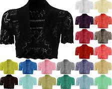 Ladies Womens Knitted Crochet Bolero Shrugs Cardigan Short Sleeves Top UK 8-14