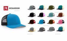 Richardson - Low Profile Trucker Hat Snapback Visor Structured Mesh Back Cap 115