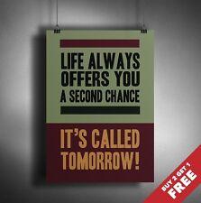 Motivation Poster A3 A4 * Life vous offre toujours une seconde chance * Mur Art
