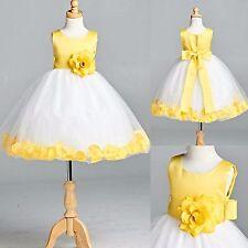 Yellow Satin Rose Petal Dress Summer Spring Flower Girl Birthday Gown Easter #22