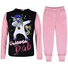 Kids Girls Designer Unicorn Dab Floss Pyjamas Loungewear Nightwear Baby Pink PJS