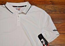 Fila Athletic Fit Performance White Polo Golf Shirt Short Sleeve Wicking Shirt
