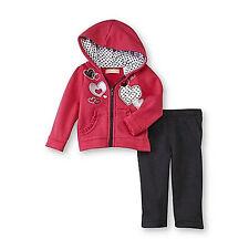 Kids Headquarters Infant Toddler Girl's Fleece Hoodie Jacket & Pants 12M 18M NWT