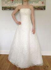 New White Elegant A-Line Metallic Decor Bridal Wedding Dress Size 8-10 1310