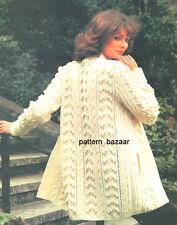 Ladies Knitting Pattern  Aran 3/4 Jacket with Pocket & Optional Belt