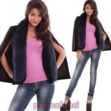 Cappa donna coprispalle collo eco pelliccia giacca lana gilet nuovo CJ-2402