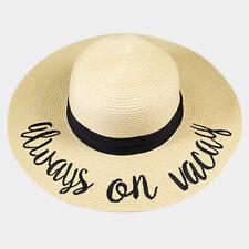 Amtal Women Wide Brim Embroidered Beach Pool Floppy Summer Vacation Sun Hat
