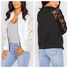 New Womens FLoral Lace Bomber Jacket Ladies Vintage Zip up Biker Coat Hot JJ