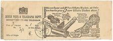 India advert telegraph receipt for GILLETTE RAZORS & BLADES 1934