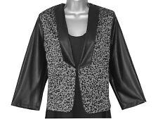 Plus size black/grey animal print short jersey matt pu detailed jacket