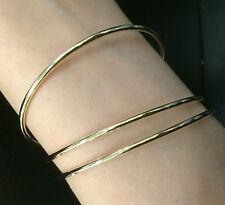 Shiny Silver Rose Gold Bangle 2mm Bracelet Wedding Formal Plain 7cm 6.5cm Large