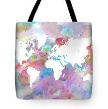 Tote bag All over print Design 48 World Map watercolor digital art L.Dumas