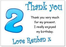 TC 10 Personalizado Sobres y tarjetas de agradecimiento, gracias Cumpleaños Fiesta Niños 2 años