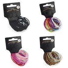 Set of 30 Thin Coloured Hair Elastics Bobbles Hair Bands - Hair Accessories